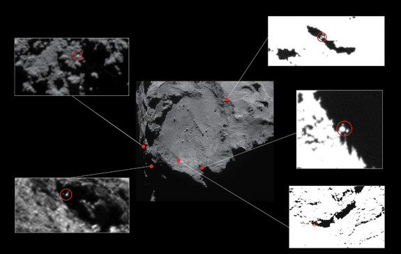 This European Space Agency image of Comet 67P/Churyumov–Gerasimenko show the five most likely candidates for the final landing spot of the Philae lander after it separated from the Rosetta spacecraft on Nov. 12, 2015. The top left candidate may be the most likely site for Philae.