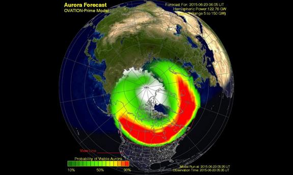This aurora forecast map shows the likelihood of viewing the Northern Lights on Tuesday (June 23) in the wake of the geomagnetic storm.