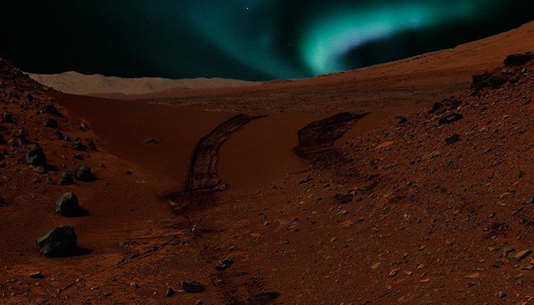 Mars' Blue Auroras: Artist's Concept