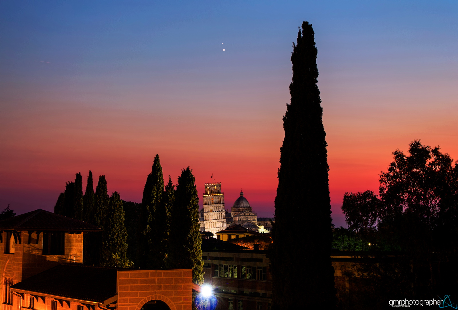 Venus and Jupiter Over the Leaning Tower of Pisa