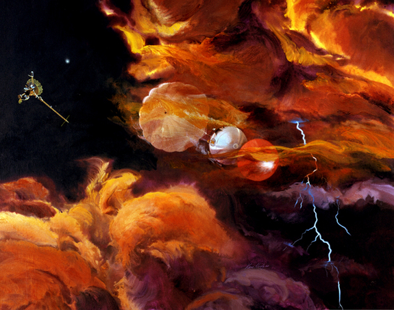 Galileo's probe lasted less than an hour before being destroyed by Jupiter's atmosphere.