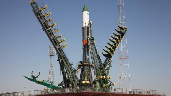 Russia's unmanned Progress 60 cargo craft on the launch pad at Baikonur Cosmodrome in Kazakhstan ahead of a planned July 3, 2015 liftoff.