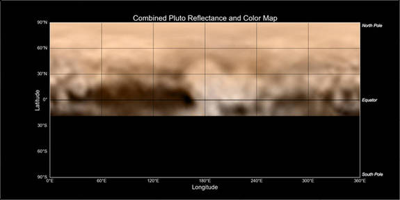 "This map of Pluto, made from images taken by New Horizons from June 27 through July 3, shows a diverse array of bright and dark markings, including ""the whale,"" the large, elongated dark patch at bottom left."