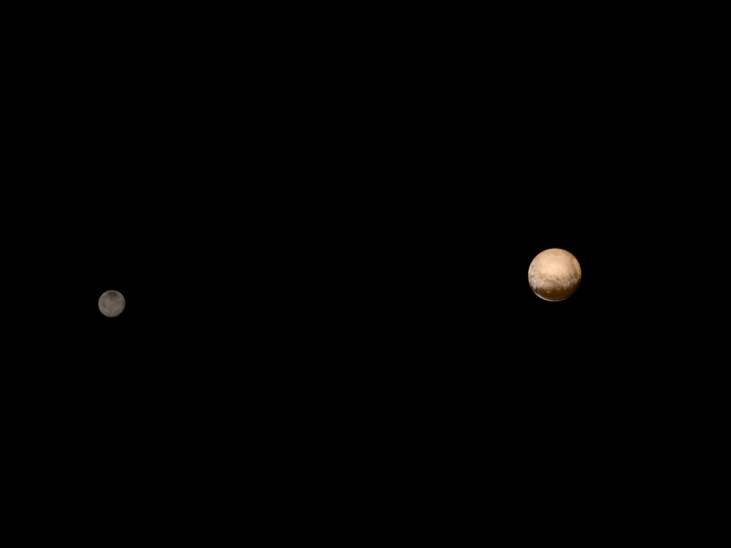 Pluto and Charon in Color, July 8, 2015