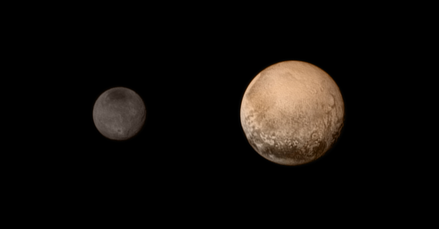 This composite image shows color views of Pluto (right) and its largest moon Charon as they appeared on July 11, 2015 to NASA's New Horizons spacecraft ahead of a historic flyby on July 14.