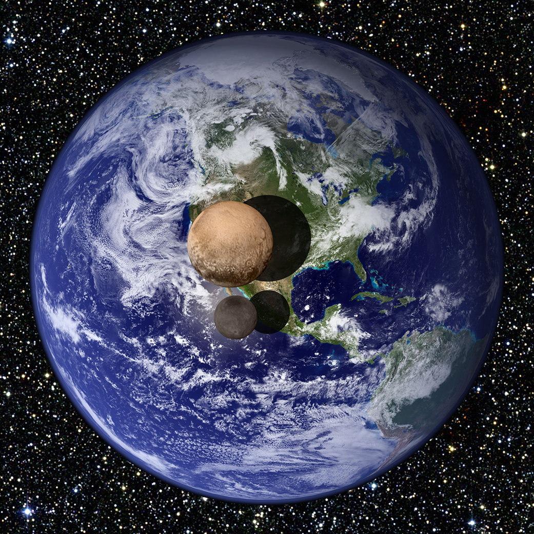Pluto and Charon compared to Earth