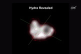 For the first time, New Horizons revealed the shape and size of Pluto's moon, Hydra, as presented in a NASA press conference on July 15, 2015, at the Johns Hopkins University Applied Physics Laboratory, Laurel, Maryland.