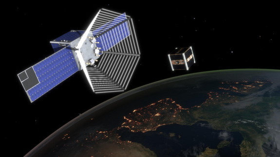 CleanSpace One closes in on a CubeSat.