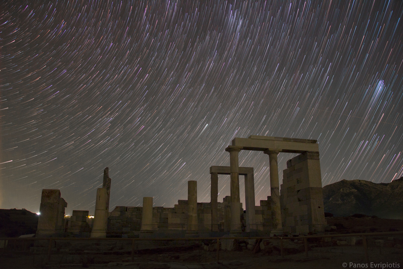 Star Trails Over the Temple of Demeter in Greece