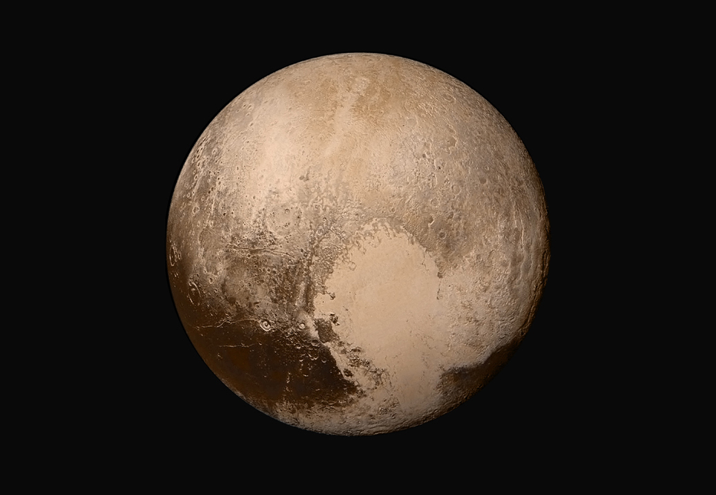 Global Mosaic of Pluto Shown in True Color