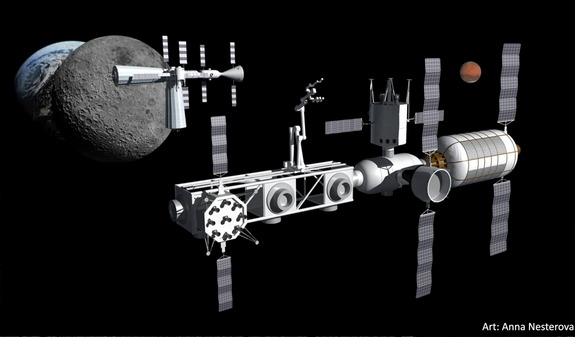 This Alliance for Space Development (ASD) artist's concept depicts one approach to refueling the Mars Transfer Vehicle at the propellant depot at the Earth-Moon L2 point. Image released July 20, 2015.