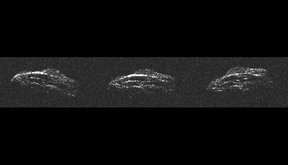 These three separate radar images of asteroid 2011 UW158 show how the asteroid was tumbling as it flew by Earth on July 19, 2015.