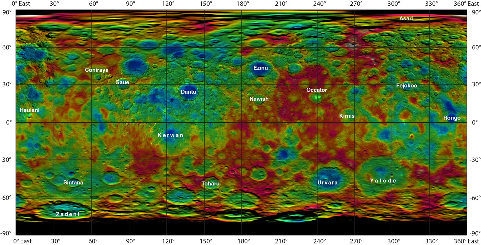 Ceres Features Get Names