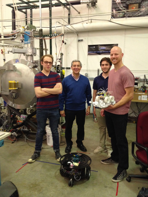 Rover researchers at the University of Colorado Boulder. From left to right, Nate Marx, Jack Burns, Ben Mellinkoff and Chris Womack.