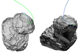 Two trajectory reconstructions of the Philae lander's touchdown on Comet 67P on Nov. 12, 2014.