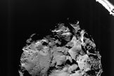 Image of Comet 67P acquired by the ROLIS instrument on the Philae lander during descent on Nov. 12, 2014, from a distance of approximately 3 kilometers from the surface. The image has a resolution of about 3 meters per pixel.