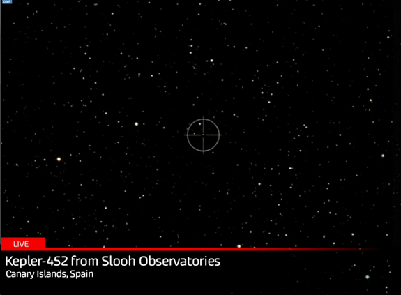 Slooh Community Observatory targets Kepler-452, the parent star of Kepler-452b, during a web broadcast on July 26, 2015.