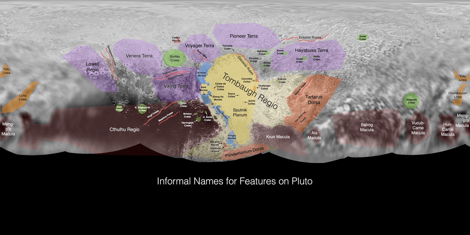 Informal Names for Features on Pluto