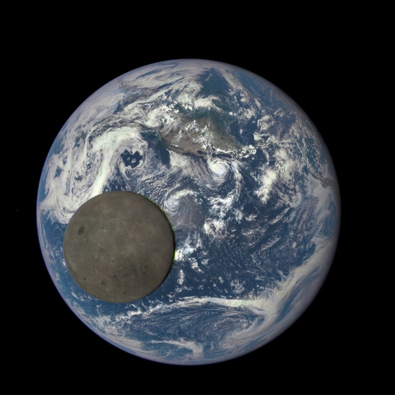 This image shows the far side of the moon, illuminated by the sun, as it crosses between the DSCOVR spacecraft and the Earth — 1 million miles away.