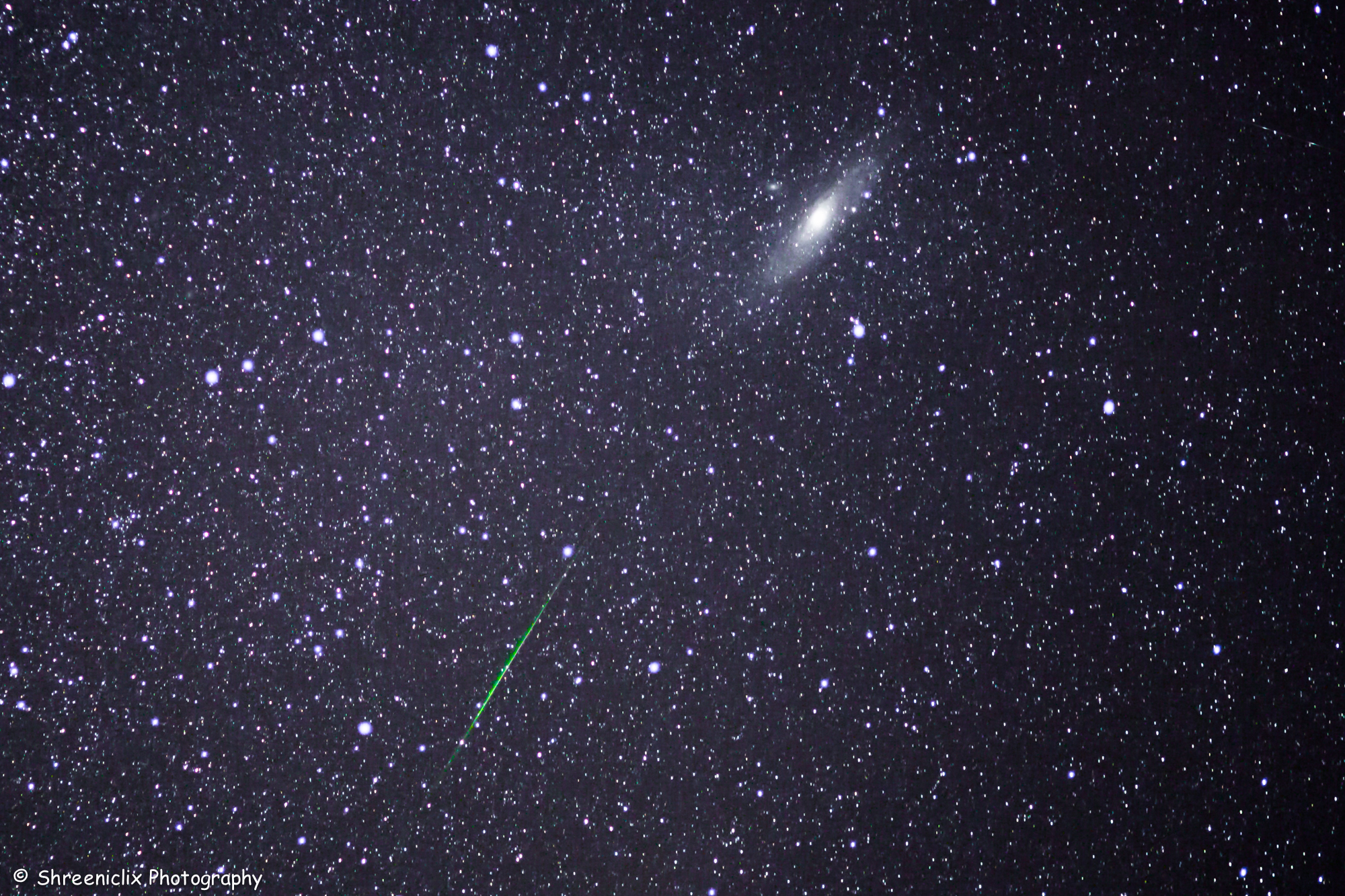 Perseid Meteor and Andromeda Galaxy