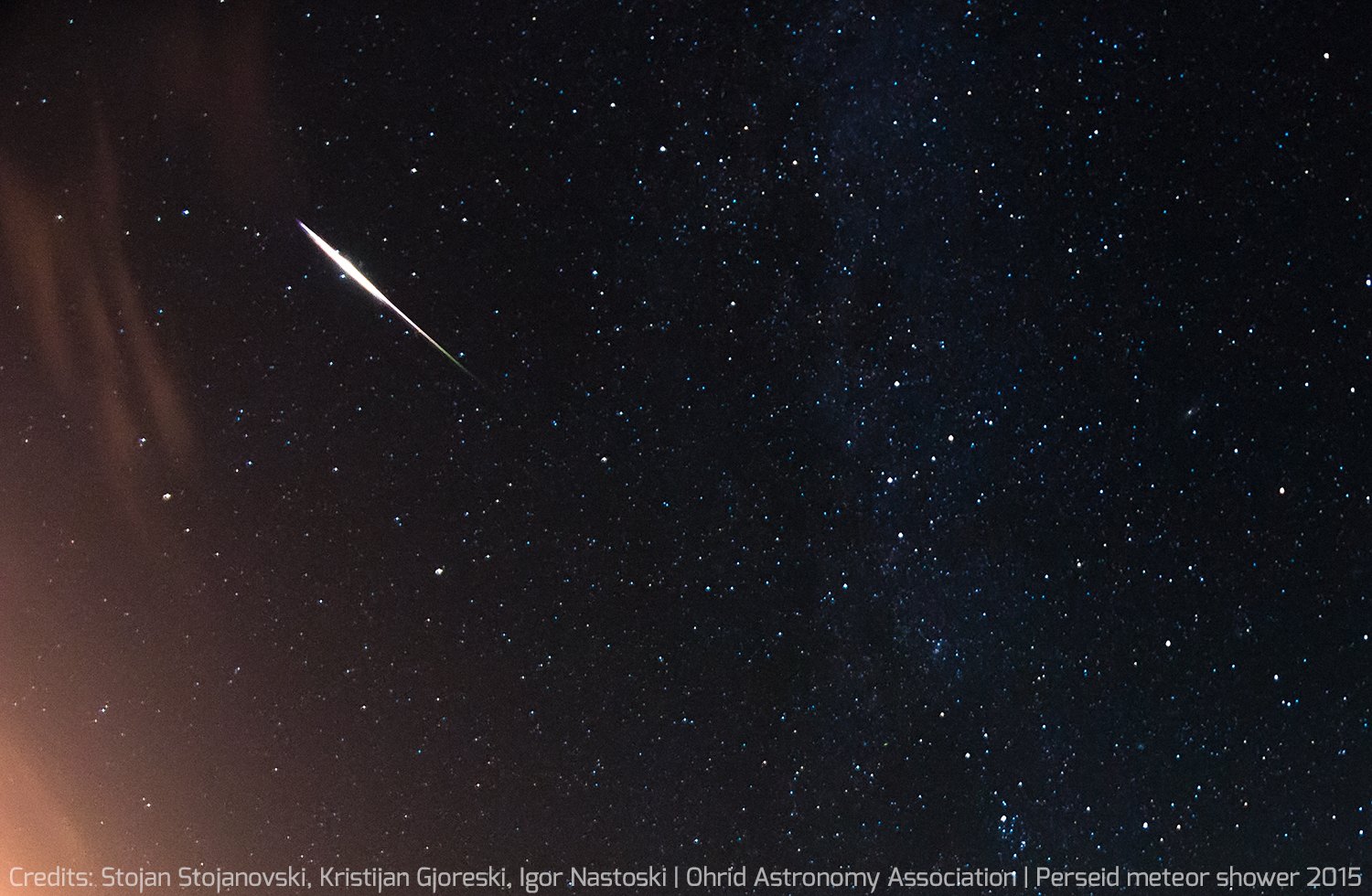 This amazing view of a Perseid meteor was captured by amateur astronomers Stojan Stojanovski, Kristijan Gjoreski and Igor Nastoski of the Ohrid Astronomy Association in Ohrid, Macedonia during the peak of the Perseid meteor shower on Aug. 12-13, 2015.