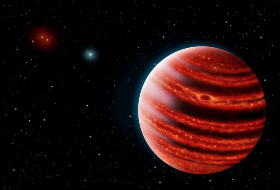 "An artist's depiction of the ""young Jupiter"" exoplanet 51 Eridani b in near-infrared light. The planet twice the mass of Jupiter and is the smallest exoplanet yet seen using direct-imaging techniques."