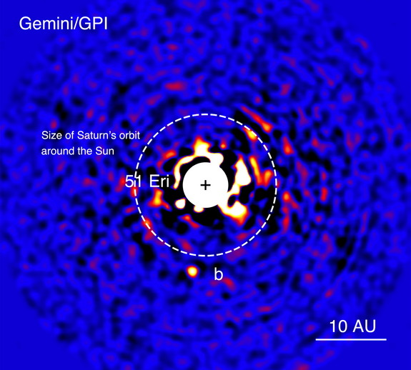 "This image is the discovery photo of alien planet 51 Eridani b (labeled as ""b"") as seen in near-infrared light by the Gemini Planet Imager in Chile on Dec. 14, 2014. The bright star 51 Eridani at the center has been masked because it is 1 million times brighter than the planet."