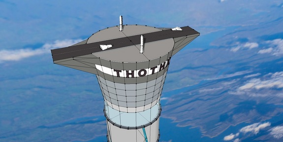 A commercial spacecraft launch pad and runway would sit atop the 12-mile-high inflatable space elevator concept patented by the Canadian company Thoth Technology Inc. The concept would allow cheaper access to space, the company says.