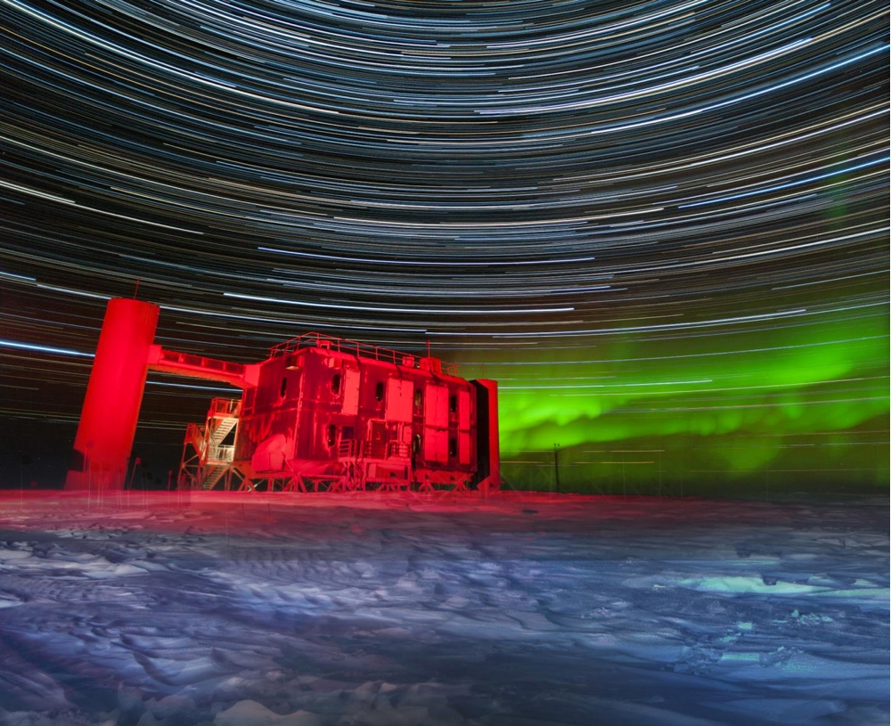 The IceCube Lab at the South Pole, lit up by star trails in this photo taken in July 2015.