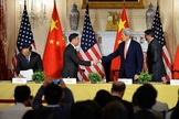 Secretary of State John Kerry shakes hands with Chinese Vice Premier Wang Yang at the conclusion of the U.S.-China Strategic and Economic Dialogue/Consultation on People-to-People Exchange at the U.S. Department of State in Washington, DC., on June 24, 2015.