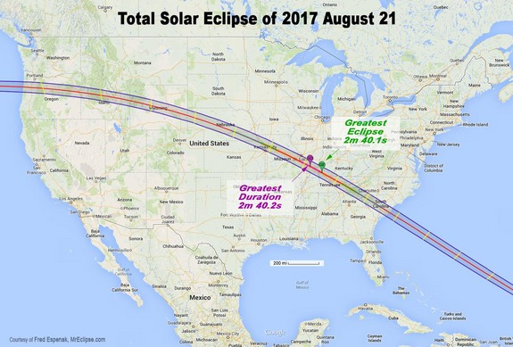 Map showing the path of totality across the United States for the total solar eclipse of Aug. 21, 2017.