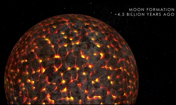 This NASA image shows the moon coalescing from debris created when a Mars-size object slammed into the early Earth. Carbon found in lunar samples suggests that the moon's surface composition was very similar to Earth's.