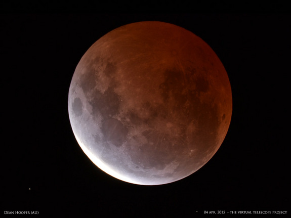 To see the lunar eclipse on Sunday (Sept. 27), check out the Slooh Community Observatory webcast. Photographer Dean Hooper captured this spectacular view of the April 4, 2015, total lunar eclipse from Melbourne, Australia. Shared by the Virtual Telescope Project in Italy.