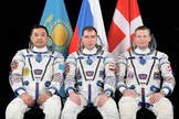 (L to R) Aidyn Aimbetov of the Kazakh Space Agency, Sergei Volkov of the Russian Federal Space Agency and Andreas Mogensen of the European Space Agency (ESA) will launch from the Baikonur Cosmodrome in Kazakhstan Wednesday, Sept. 2, 2015, and head to the International Space Station.