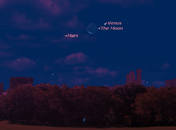Skywatching Triple Treat: Mars and brilliant Venus will shine near the crescent moon before sunrise on Thursday, Sept. 10. This Starry Night sky map shows how the trio will look risking in the eastern pre-dawn sky at 6 a.m. local time as viewed from mid-northern latitudes.