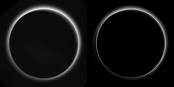 A processed image of the sun shining through Pluto's atmosphere  (right, unedited version at left) reveals multiple layers of haze.