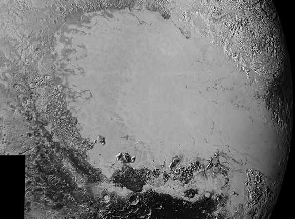 This mosaic of the new high-resolution Pluto images shows 1,000 miles (1,600 km) of the dwarf planet's surface, as taken from 50,000 miles (80,000 km) away during New Horizons' closest approach.