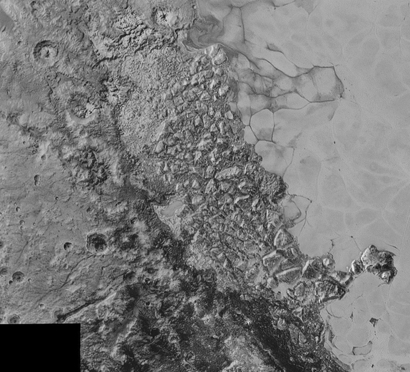 Broken, mountainous terrain is visible on the left edge of the flat, icy Sputnik Planum. The mountains might be blocks of water-ice floating in Sputnik Planum's frozen nitrogen, officials said. The image covers 300 miles (470 km).