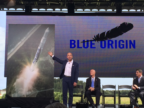 Jeff Bezos, founder of Blue Origin, announces his company's plans to launch spaceships and rockets from Florida's Cape Canaveral Air Force Station at Launch Complex 36 on Sept. 15, 2015.
