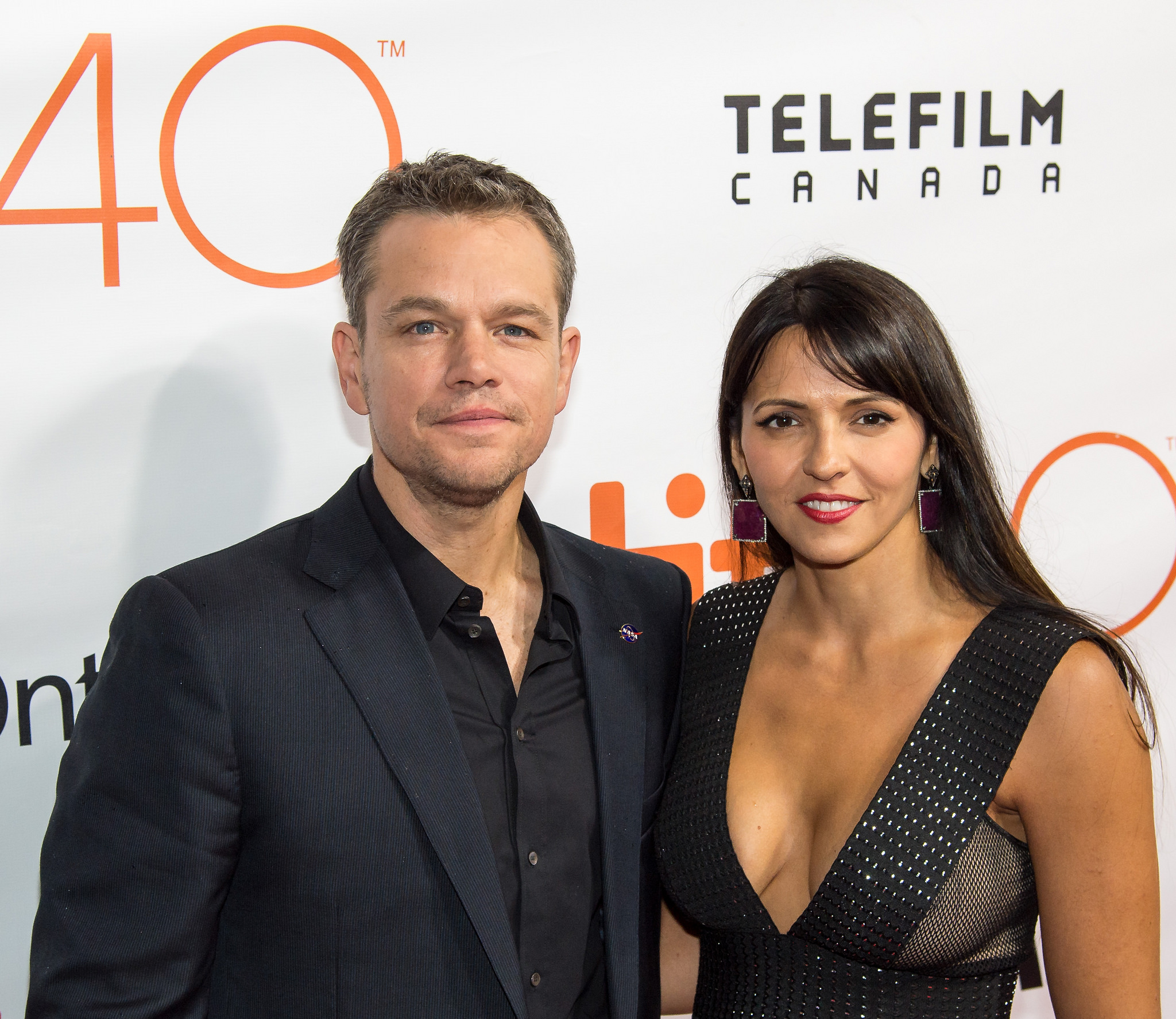 Actor Matt Damon and his wife at