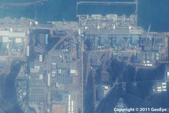 Satellite image of the Fukushima Daiichi power plant three days after the Tohoku earthquake struck.
