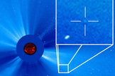The dot in the cross-hairs is the 3,000th comet discovered by the NASA/European Space Agency Solar and Heliospheric Observatory (SOHO), as seen on Sept. 14, 2015. The comet was spotted in SOHO data by Worachate Boonplod of Thailand.