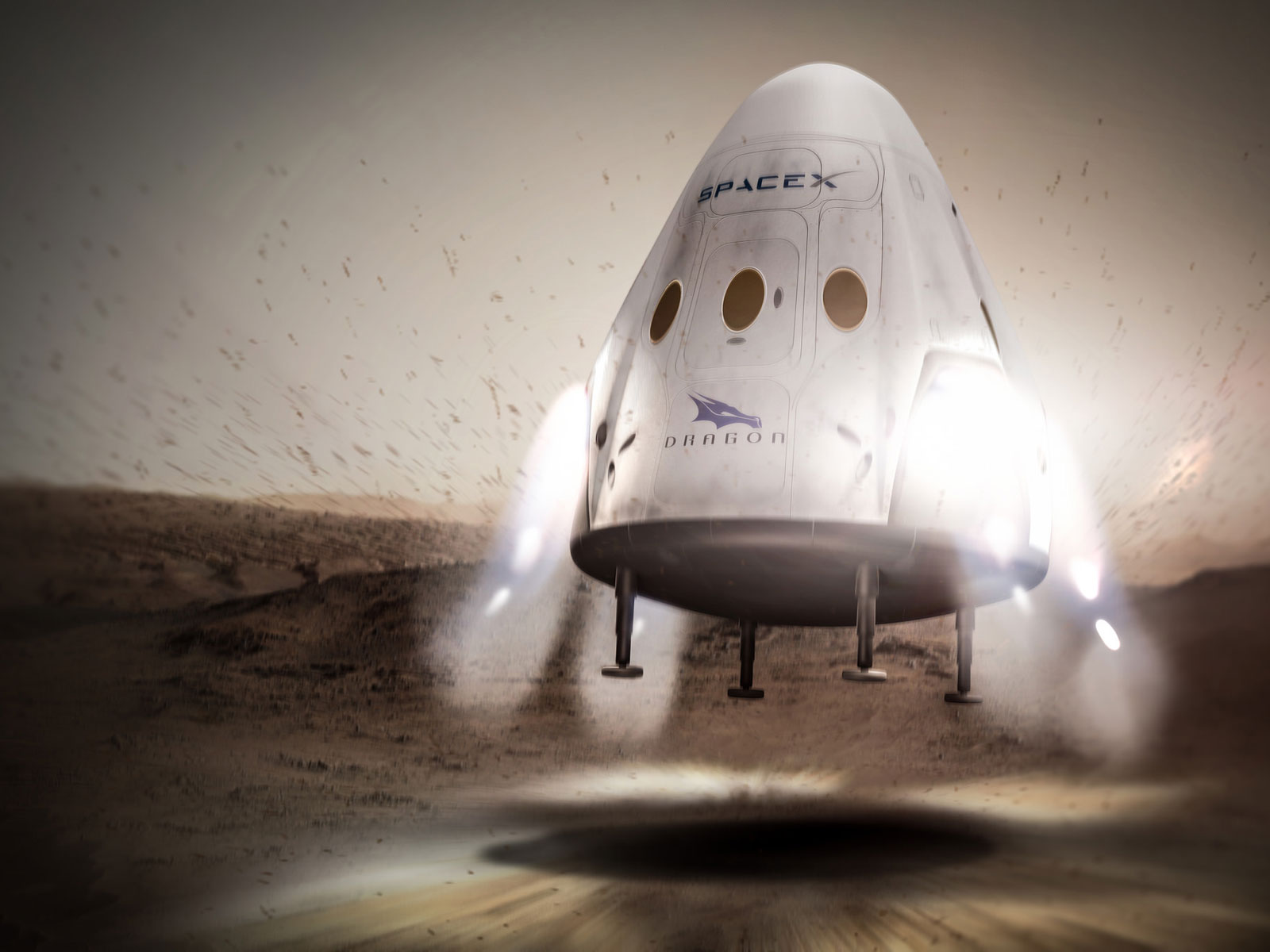 SpaceX's Dragon Landing on Mars | Space Wallpaper