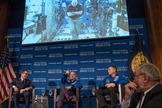 On Sept. 14, 2015, astronaut Scott Kelly participated from the International Space Station in a discussion with astronaut Terry Virts and Kelly's twin brother, retired astronaut Mark Kelly, at the National Press Club in Washington.