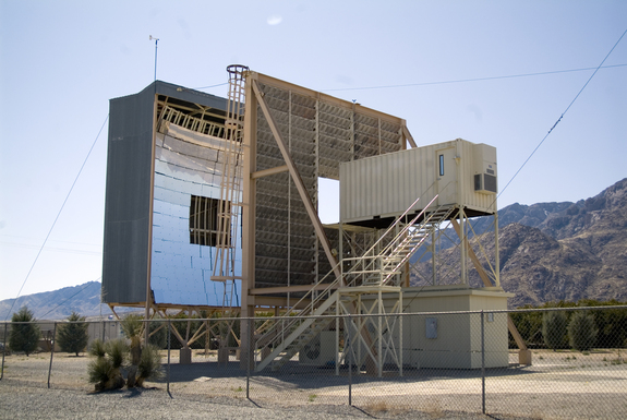 This solar furnace at the White Sands Missile Range in New Mexico uses mirrors to focus the sun onto a small point. Normally used to simulate the heat from a nuclear explosion, this high-tech blast oven is slated for use to test an in-space idea for using asteroids. The same gear has been used to test a theory that a space-based version of the furnace could be used to deflect a meteor headed for Earth.