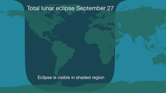 This graphic shows the areas of the Earth where viewers will see the lunar eclipse of Sept. 28, 2015, including much of North America, South America, Africa and Europe.