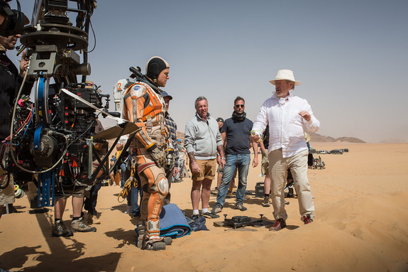 Human Footfall On Mars:  Sir Ridley Scott suggests the nuance of movement in Martian gravity to Matt Damon