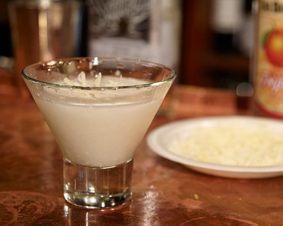 "The ""Supermoon"" cocktail puts a twist on the classic margarita by substituting the traditional citrus mixer with cream of coconut."