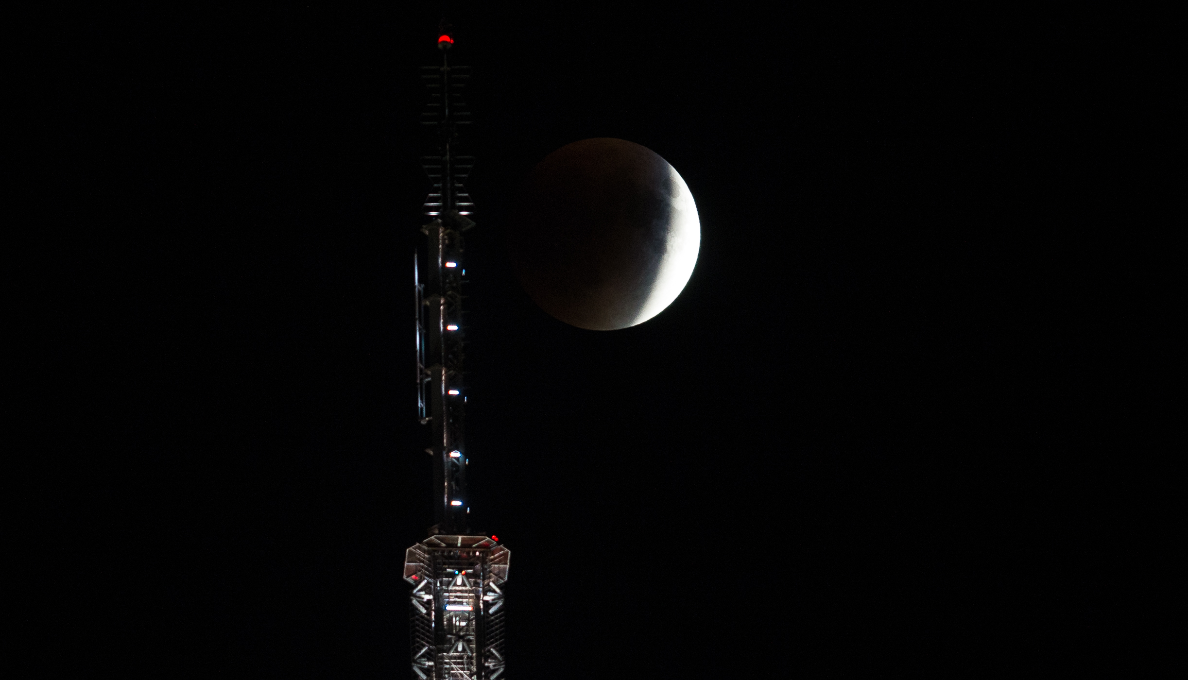Lunar Eclipse Over Empire State Building