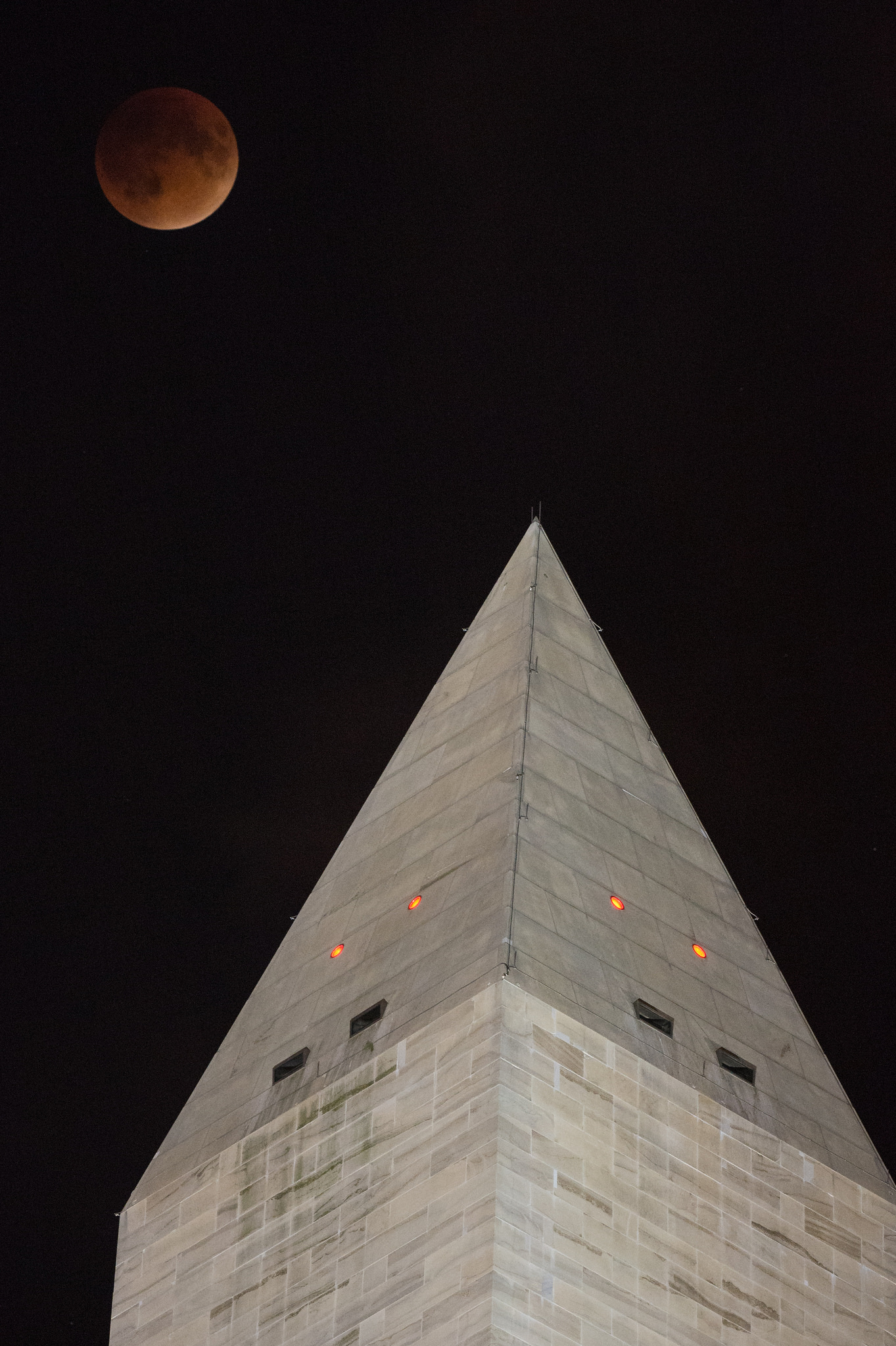 Supermoon Lunar Eclipse Over Washington Monument
